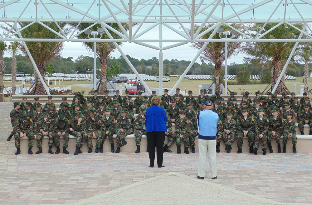 Venice Middle Young Marines at Patriot Plaza at the Sarasota National Cemetery.